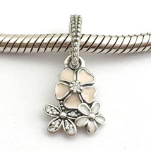 Authentic Pandora Poetic Blooms Enamel & Clear CZ Charm 791824ENMX New - $38.94