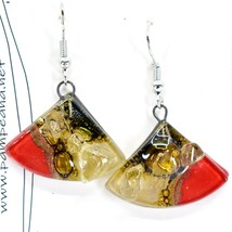 Handmade Recycled Fused Glass Red & Brown Triangle Hook Earrings Made Ecuador image 2