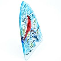 Fused Art Glass Cardinal Chickadee Bird Nightlight Night Light Handmade Ecuador image 4