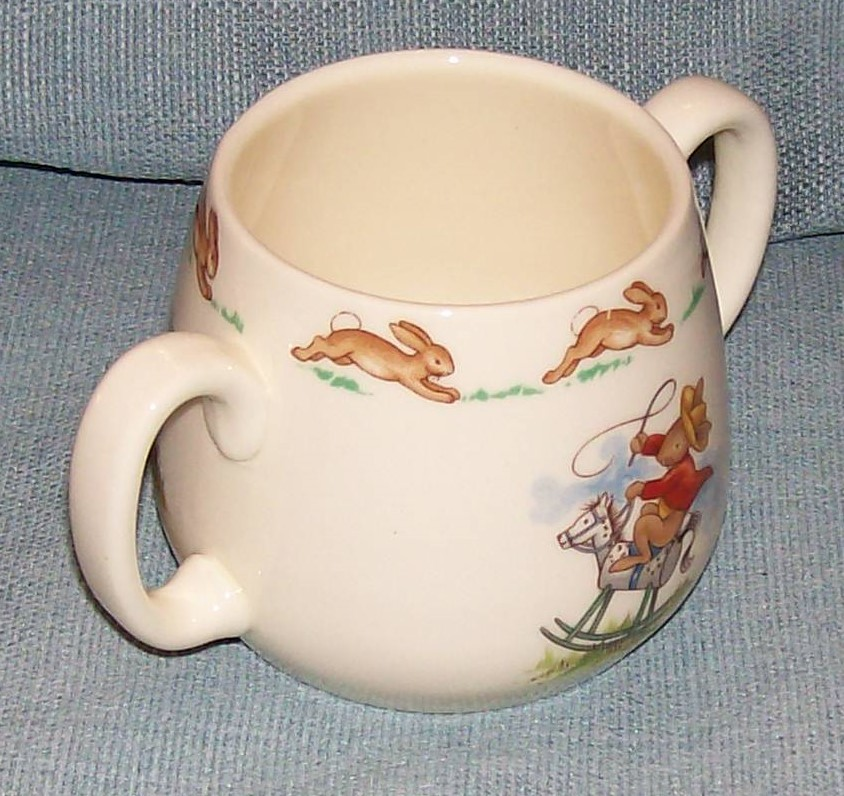 Royal Doulton Bunnykins -2 Handled Child Cup - Cowboys and Indians -VGUC image 4