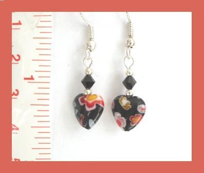 Petite Millefiori Heart Earrings