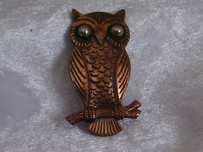 Vintage Copper Owl on a Branch Pin