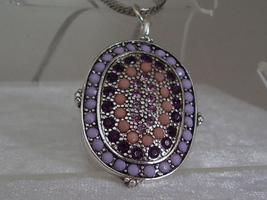 Monet Pinks and Purples Beads and Rhinestones Pendent Sterli - $8.95