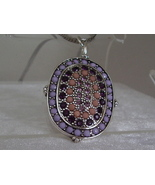 Monet Pinks and Purples Beads and Rhinestones Pendent Sterli - $8.95