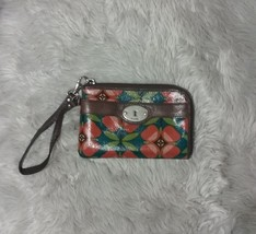 Fossil Key Per Floral Coated Canvas Wristlet - $16.83
