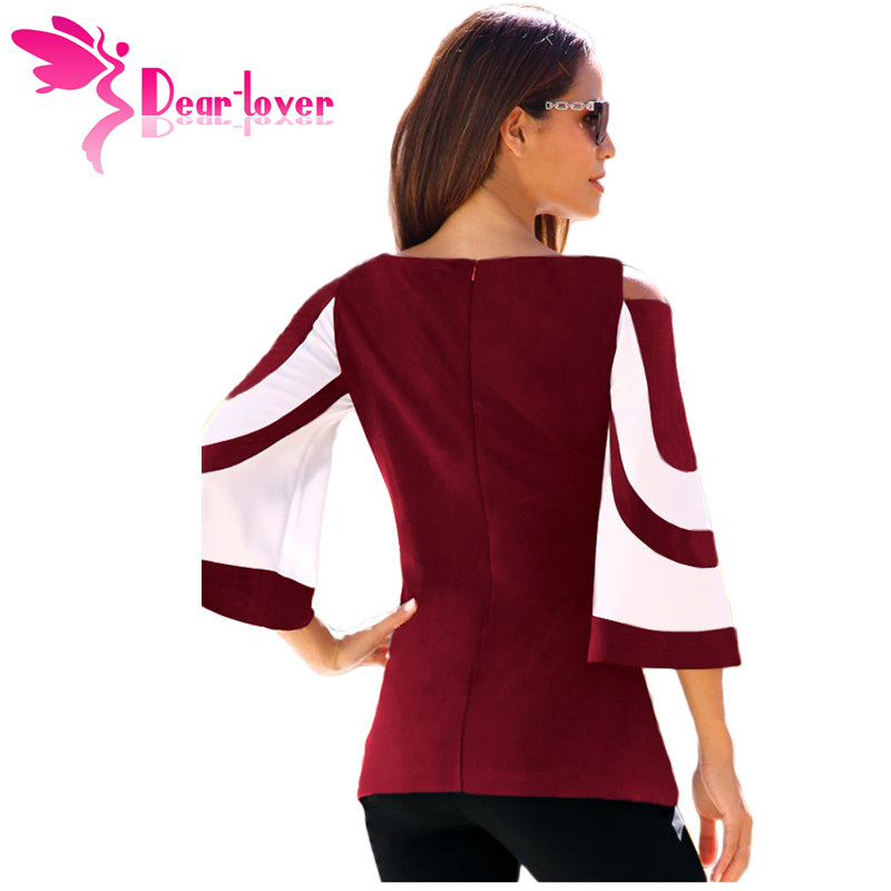 DearLover Women Blouse Black White Colorblock Bell Sleeve Cold Shoulder Top Muje image 6