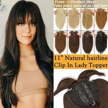 NEW 11'' Lady Hair Topper Real One Piece Full Head Clip In Hair Extension image 2