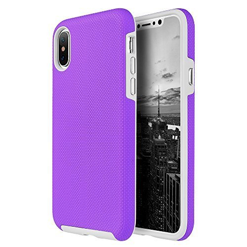 Hybrid Dual Layer Protection TPU Cover Anti Slip PC Case for iPhone X - Purple