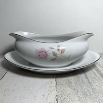 Modern China & Table Inst. 5719 La Rose Silver Rimmed  Gravy Boat - $34.65