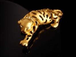 BIG Cat brooch / gold Jaguar / leopard pin / tiger rhinestone lapel pin / womens image 6