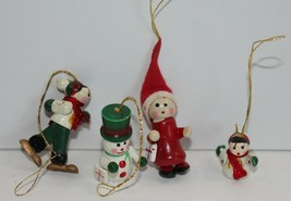 Wooden Hand Painted Miniatures Christmas Ornaments Lot of 4 Vintage - $12.59