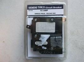 Siemens D-115 Circuit Breaker, 15 Amp, Type D, Single Pole - $10.69