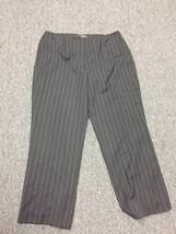 ANNE KLEIN NEW YORK Black Striped High Waist Wide Leg Dress Pants Sz 18W... - $29.69