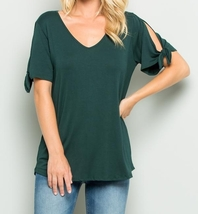 Cold Shoulder Top, Knotted Short Sleeves V Neck, Plus Size Tops, Hunter Green