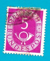 Used German Postage Stamp (1951) 5 pf Numeral & Posthorn Scott # 672 - $1.99