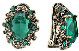 BriLove Antique-Gold-Toned Clip-On Earrings Women's Victorian Style Crystal - $25.38