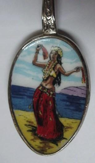Enamel & Silver Plated Hawaiin Hula Girl Souvenir Spoon