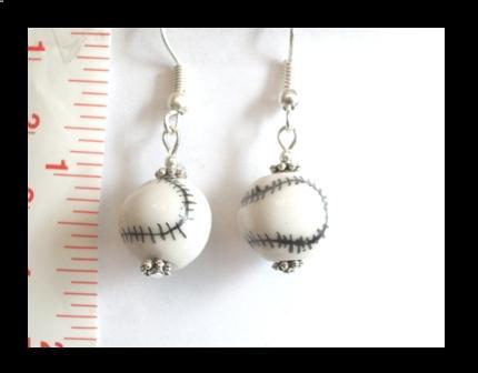 Baseball Porcelain Earrings