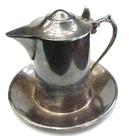 Old Elegant Wallace Silver Creamer Pitcher & Under Plate