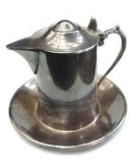 Old Elegant Wallace Silver Creamer Pitcher & Under Plate - $9.50