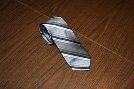 Men Men's Neck Tie Blue Silver Striped Silk Kenneth Cole Awearness - $9.74
