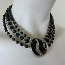 Vintage Trifari Collar Choker Enamel Inlay Silver Tone 3 Strand Beaded Necklace - $69.25