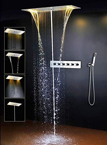 "Primary image for Cascada Luxury 15""x28"" Rectangle Ceiling Mounted LED Thermostatic Shower Head Se"