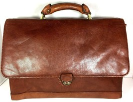 Avenues America Vintage Large Brown Mens Leather Briefcase - Distressed - $54.31