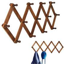Homode Vintage Wood ExpandablePegRack- Multi-Purpose AccordionWallHangers wi image 2