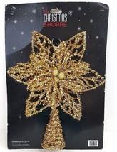 "Gold Glitter Poinsettia Christmas Tree Topper - 11 1/2"" Tall x 10"" Acros... - $21.49"