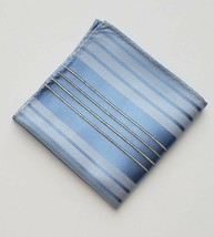 "Men's Blue & White Silver Stripes Print 10"" Pocket Square Handkerchief A... - $12.86"