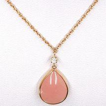 Collar Oro Rosa 18CT, Ópalo Rosa Gota Colgante, Zirconia Cúbicos, Cadena Rolo image 3
