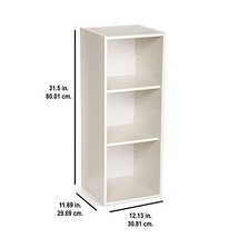 Wooden 3 Shelf Storage Organizer Portable Adjustable Closet Home Office ... - $51.76