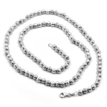"""18K WHITE GOLD BALLS CHAIN WORKED SPHERES 4mm DIAMOND CUT, FACETED 18"""", 45cm image 1"""