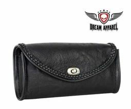 Black REAL LEATHER WINDSHIELD BAG W/ Braided Trim for HARLEY DAVIDSON - $40.65