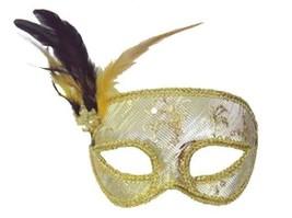 Silver Damask Venetian Style Mardi Gras Masquerade Mask W Feathers & Rhinestone - $13.91