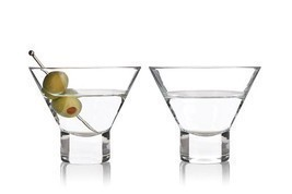 Martini Glass, Raye Crystal Modern Stemless Small Glass Martini Set, Set... - $25.49