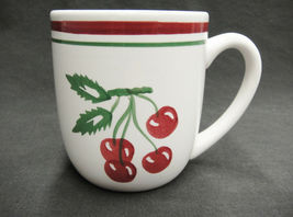 Tag Vintage Cherry Pattern Mug Red and Green Bands Cherries on Stems Leaves image 4