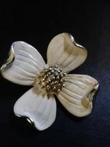 Vintage GERRY'S Designer Signed Cream Enamel Dogwood Brooch w/Gold Tone - $16.99