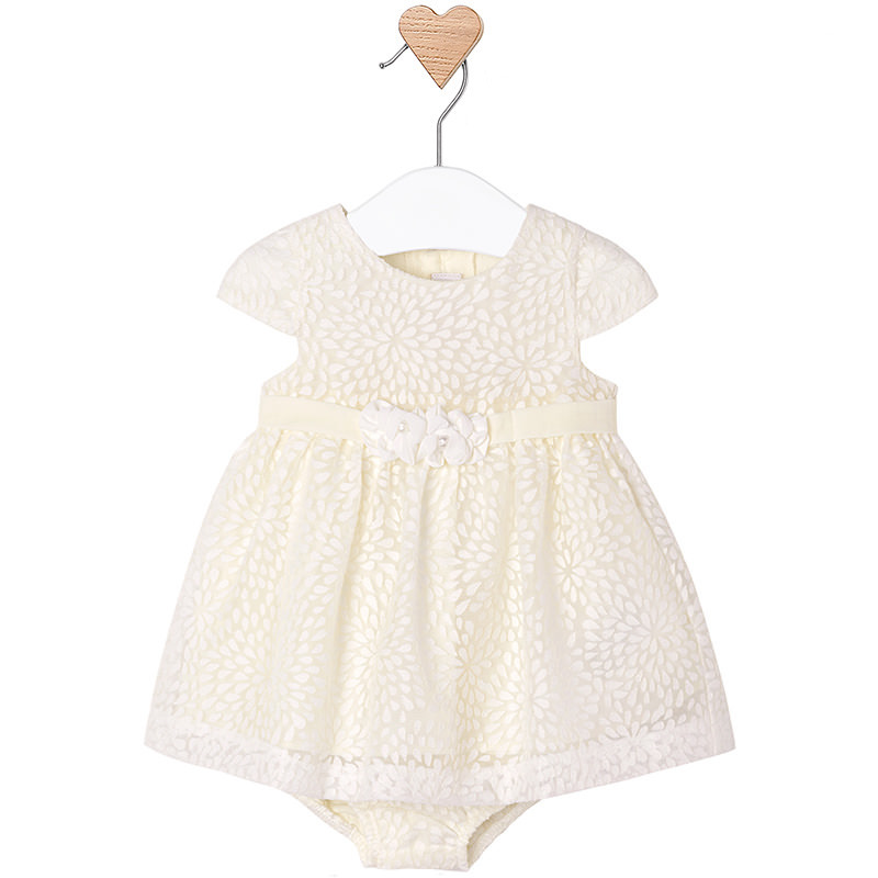 Mayoral Baby Girl 0M-12M Ivory White Burnout Floral Social Dress