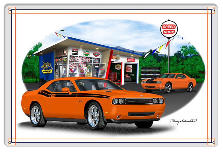 Primary image for Dodge Challenger Orange Garage Art Metal Sign By Rudy Edwards  16x24