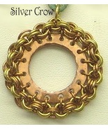 Copper Circle Surrounded Bronze Chainmail Suede Cord Pendant  Unisex Nec... - $17.99