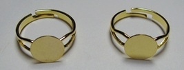 500 GOLD PLATED Adjustable RING BLANKS 10mm pad ~ NICE ~ Add Findings/Ca... - $68.30