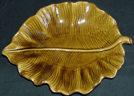 "RARE Calif USA M-708 15"" Ceramic Scalloped Tropical Leaf Serving Dish Pl... - $40.77"