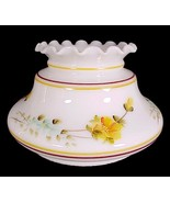 """Milk Glass Student Lamp Shade Yellow Floral 7"""" Desk Table Chandelier Wal... - $34.95"""