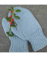 hand knit wool gloves, ladies, light blue, mittens - $26.00