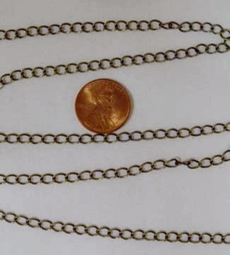 Primary image for By-the-FOOT 4mm x 5mm ANTIQUE'd BRASS CURB Chain BULK Footage - Pick your Length