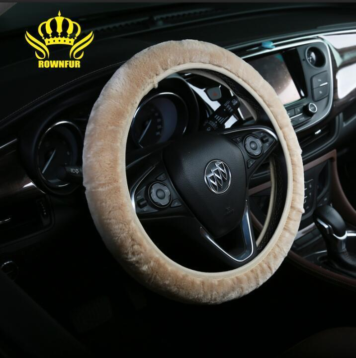 Soft Car Steering Wheel Beige Cover Classical Comfortable Car Decor Accessories