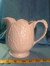 I. Godinger Porcelain Mini Ivory Leaf Pitcher Dressing, Syrup, Juice, Mi... - $15.85
