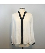 Jones New York Women's White Sheer Button Front Black Accent Shirt Size ... - $17.99